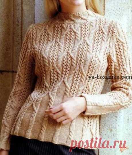 """Женский свитер узором """"косы"""". Тёплый женский свитер со схемами"""