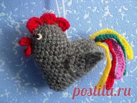Игрушка на елку - Петух, вязаный крючком, описание и пошаговые фото | новый год