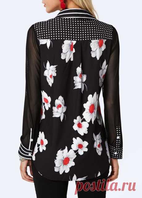 Curved Hem Turndown Collar Printed Shirt | Rotita.com - USD $32.19