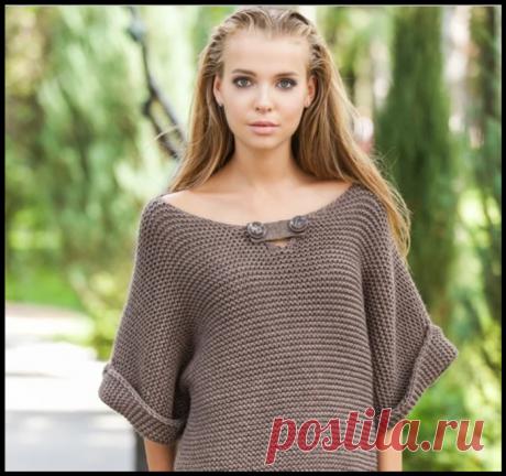 Чем проще, тем моднее: вяжем стильный пуловер платочной вязкой!