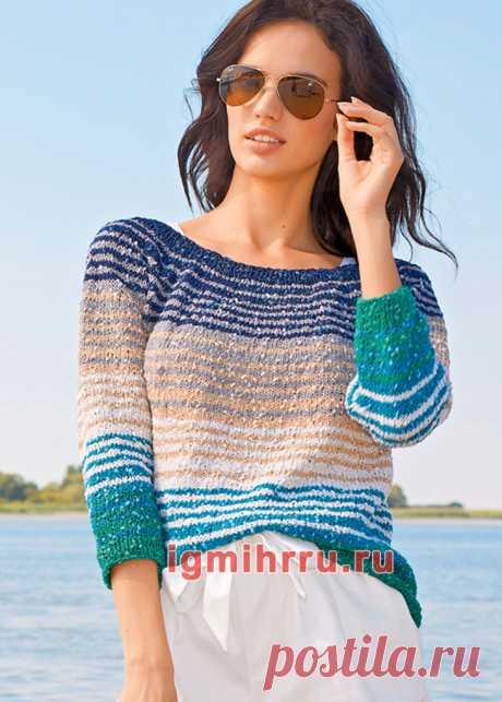 Полосатый пуловер с круглой кокеткой. Вязание спицами со схемами и описанием