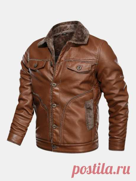Mens Outdoor PU Thickened Warm Windproof Turn Down Collar Casual Jacket - US$76.99