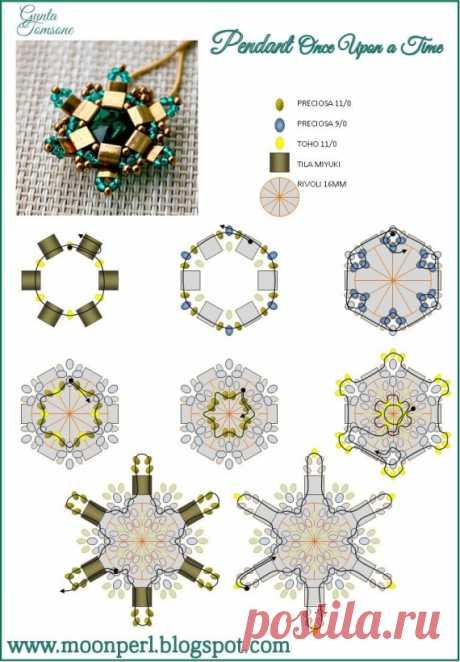 Схема серёжек и кулона с тилой / Схемы / Бусинка