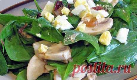 Салат из шпината, грибов и помидоров - рецепт с фото / Простые рецепты