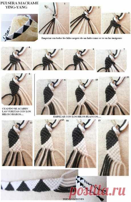 Браслет Ying-Yang из пряжи двух цветов в технике макраме. /  UsefulDIY.com