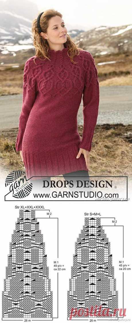 Теплый вязаный свитер от DROPS с необычной кокеткой - схема и описание.