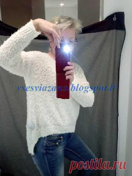 """ВСЕ СВЯЗАНО. ROSOMAHA.: Легкий пуловер-""""наволочка"""" спицами."""