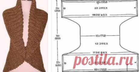 Болеро одним полотном — очень удачная выкройка! Только два шва Смотрите накартинку,слева два самых коротких отрезка сшиваются между собой исправа— два коротких— соединяются Вполученные кольца ипроходят руки Теперь смотрим навертикаль— узкая часть(52 см)— это ширина спинки Ееиможно изменять Высота жилета поспинке складывается извысот
