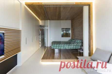 Стеклянная спальня в небольшой итальянской квартире - unwonted.ru