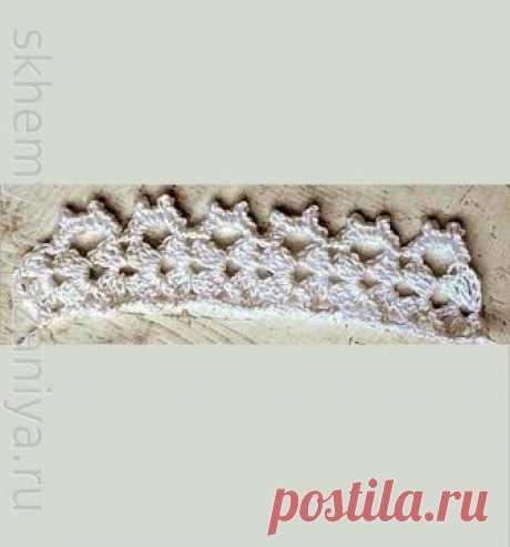 Узор крючком: белая кайма с веерами крючком | Схемы-Вязания.ру
