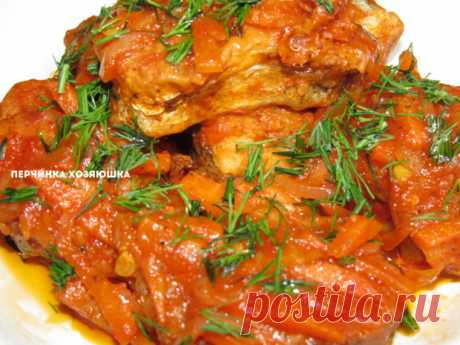 Pollock stewed in sauce with vegetables - Perchinka the hostess