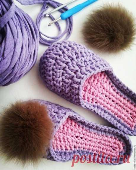 В копилку любителей вязания. Тапочки из трикотажной пряжи.