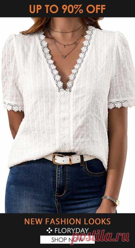 Solid v-neckline short sleeve blouse, basic tops, trendy, casual.