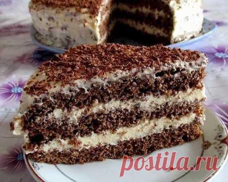 Быстрый шоколадный торт, сделайте, не пожалеете  Ингредиенты:   Для теста:  ● Кефир -300 г  ● Сахар – 1 стакан  ● Яйца – 2 шт.  ● Растительное масло – 2 ст. л.  ● Какао – 2-3 ст. л.  ● Сода – 1 ч.л.  ● Мука – 2 стакана   Для крема:  1- вариант  ● Сметана – 400 г  ● Сахар – 1 стакан  ● Масло сливочное -200 г   2- вариант  ● Яйца – 2 шт.  ● Сахар – 300 г  ● Мука-2 ст. л (с горкой)  ● Молоко – 400 г  ● Ванильный сахар – 1 пакетик  ● Масло сливочное -200 г    Приготовление:   ...