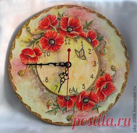 """МК по объемной росписи. Часы """"Маков цвет""""."""