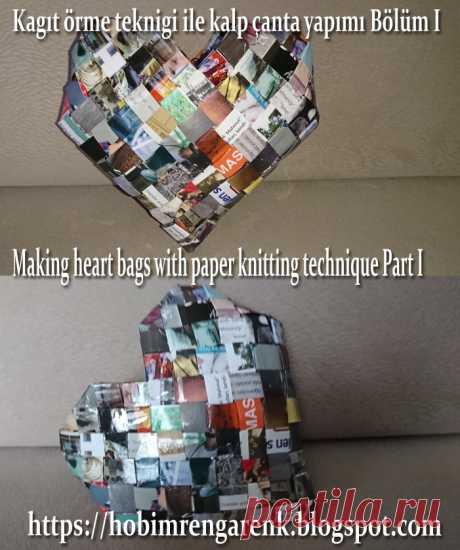 Kagıt örme teknigi ile kalp çanta yapımı Bölüm I-- Making heart bags with paper knitting technique Part I-- Geridönüşüm -- Recycle