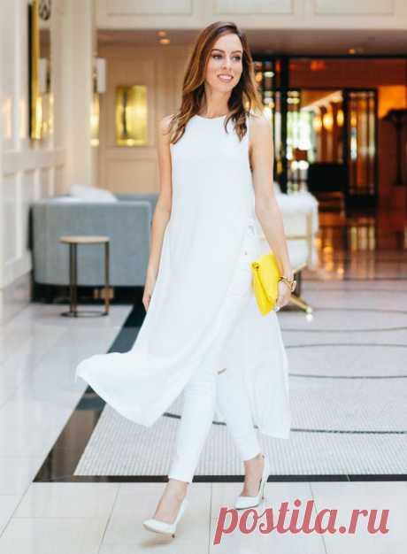 Идея для образа: белое платье с брюками — Модно / Nemodno