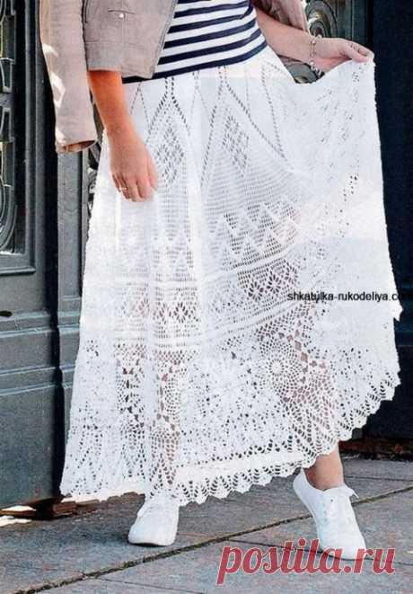 Длинная юбка крючком с описанием