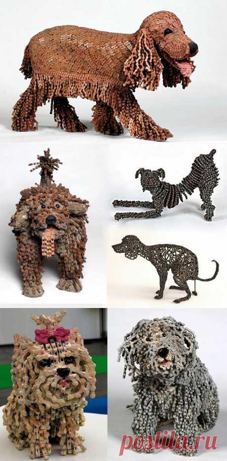 Реалистичные скульптуры собак из старых велосипедных цепей.