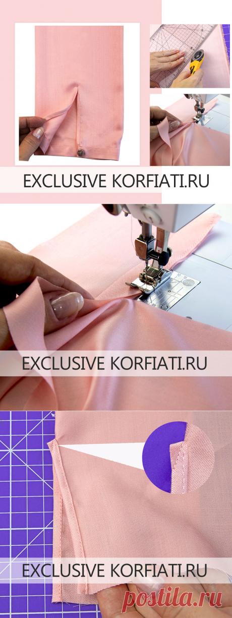 Обработка разреза рукава косой обтачкой - мастер-класс А. Корфиати