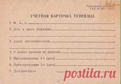 Учетная карточка тунеядца в 70-е...
