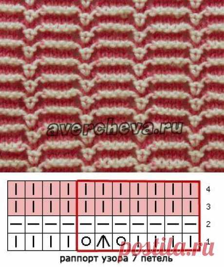 узор 494 полосатый с ажуром | каталог вязаных спицами узоров