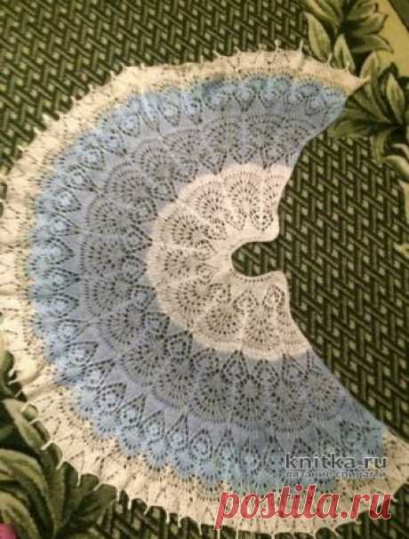 Шаль спицами ФРЕЯ. Работа Кузьминовой Татьяны,  Вязание для женщин Шаль связана по схеме шали Фрея с небольшими авторскими изменениями. Например, для украшения края шали я использовала бусины. Это даже не шаль, а скорее