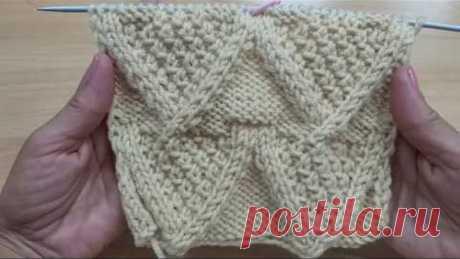 Красивый узор для теплых изделий. Вязание спицами.