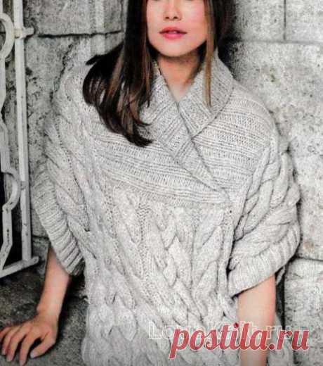 Свободный пуловер с крупными косами схема спицами
