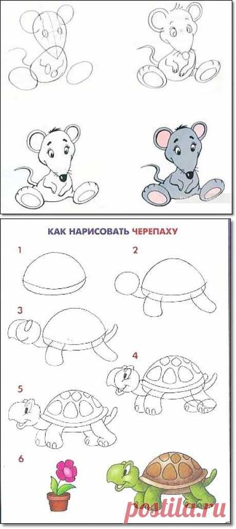 МК: рисуем мультяшных животных.