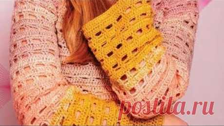 Crochet pattern for sweater - Узор крючком для джемпера