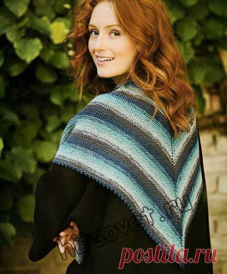 Модный вязаный платок - Хитсовет Вязание бесплатно для женщин модного вязаного платка из остатков 100% эко-шерсти с пошаговым описанием.