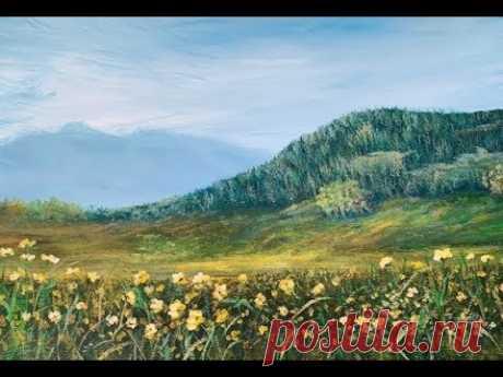 #1 Рисуем лесистые горы и траву акрилом.#1 Mountains in acrylic