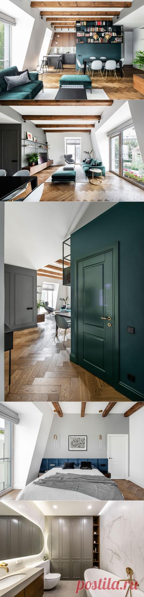〚 Cтильная мансардная квартира с балками для молодой пары в Вильнюсе 〛 ◾ Фото ◾Идеи◾ Дизайн
