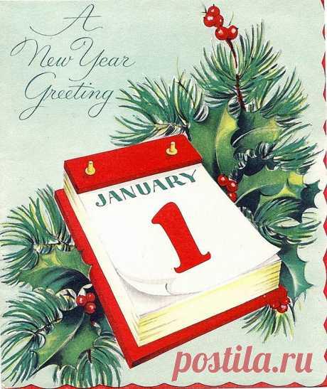 Подборка старинных зарубежных новогодних открыток. С Новым Годом!!!: dubikvit