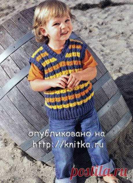 Полосатый жилет для мальчика,  Вязание для детей Размеры: 92/98 (104/110) 116/122. Вам потребуется: 100 (100) 150 г синей, по 50 (100) 100 г оранжевой и жёлтой пряжи Delta (50% хлопка, 50% акрила, 123 м/50