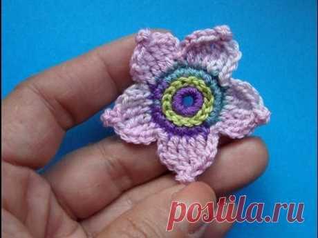 Crochet flower pattern for free - Вязаный цветок Урок 57