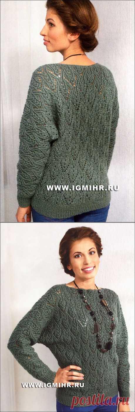 Зеленый пуловер с ажурными узорами. Спицы