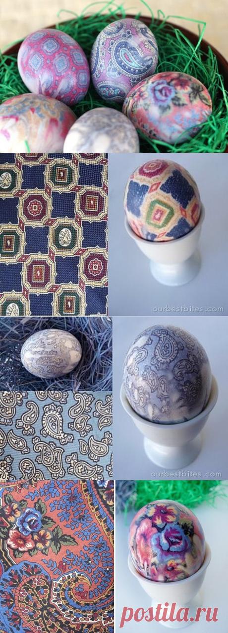 Как окрасить тканью яйца?