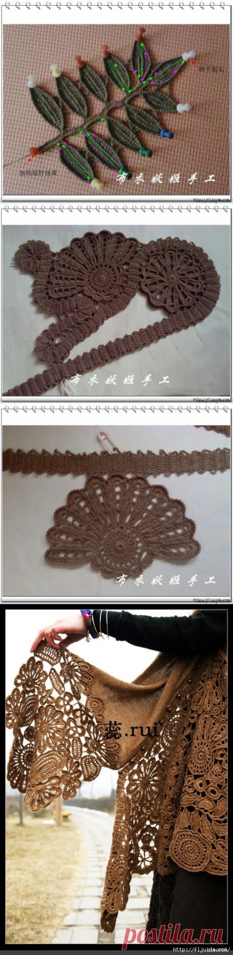 Мастер-класс по вязанию крючком шикарной шали .