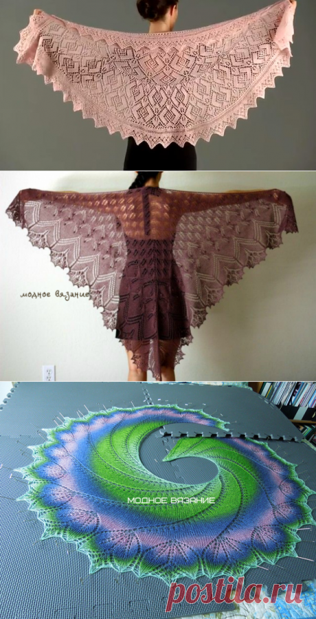 How to knit a triangular shawl spokes - Fashionable knitting