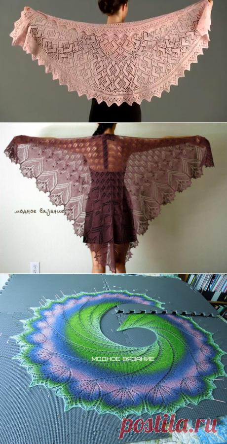 Как вязать треугольную шаль спицами - Модное вязание