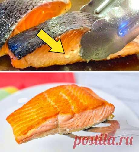 Простой трюк, чтобы рыба не прилипала к сковороде.  Чтобы рыба не прилипала к сковороде во время приготовления, придерживайтесь правила: горячая сковорода — холодное масло.   .