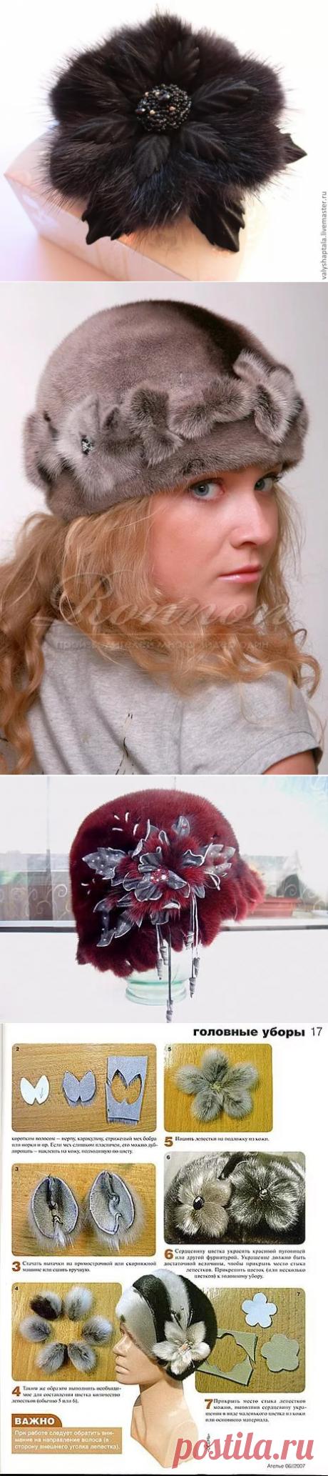 La flor de la piel del visón para el gorro por las manos: 14 tys de las imágenes es encontrado en el Yandex. Las estampas
