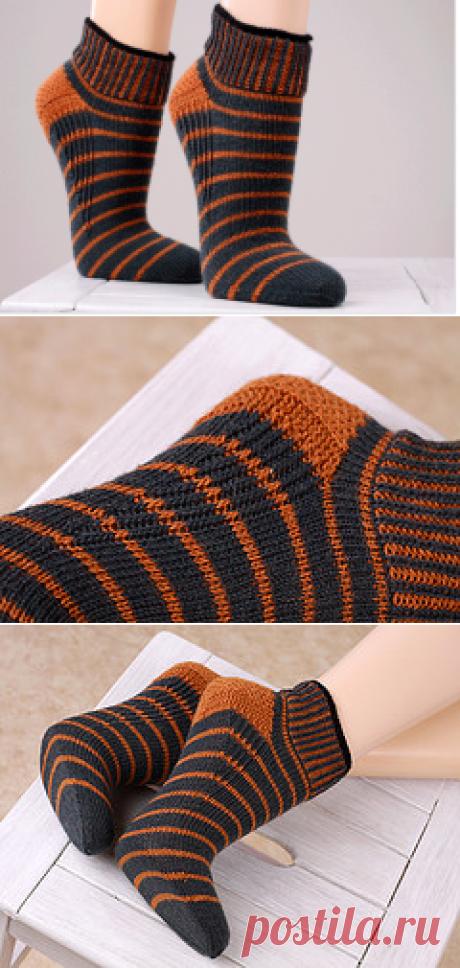 Вязание носков с укрепленной пяткой. Спицы