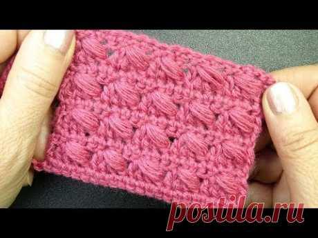 Узор с наклонными пышными столбиками для шапки и шарфика Простой узор вязания крючком 138