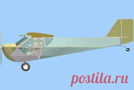 Проект двухместного самолета. Вид сбоку.