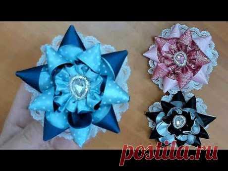 DIY/МК/ Как сделать бантики-звездочки с новым лепестком. Star bows
