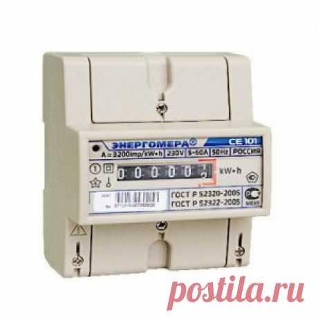 Электросчетчик СЕ 101-R5, 145 M6, 5 (60А), 1 фазный, 220 В, однотарифный, мех (Энергомера) - Измерительные приборы - Электрика