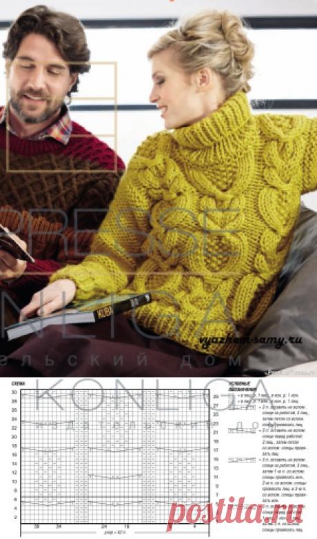 Женский свитер с косами вязаный спицами | Вязание для женщин спицами. Схемы вязания спицами